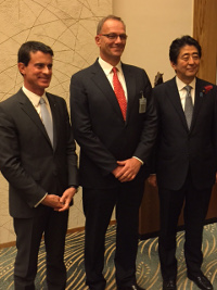 Philippe Tour CEO of ARKAMYS with Manuel Valls and Shinzo Abe Prime Ministers in OCt 2015
